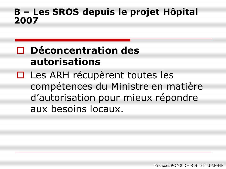 François PONS DH Rothschild AP-HP Déconcentration des autorisations Les ARH récupèrent toutes les compétences du Ministre en matière dautorisation pour mieux répondre aux besoins locaux.