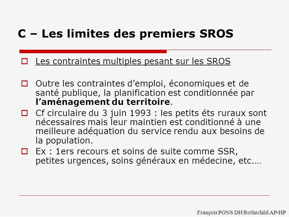 François PONS DH Rothschild AP-HP Les contraintes multiples pesant sur les SROS Outre les contraintes demploi, économiques et de santé publique, la planification est conditionnée par laménagement du territoire.