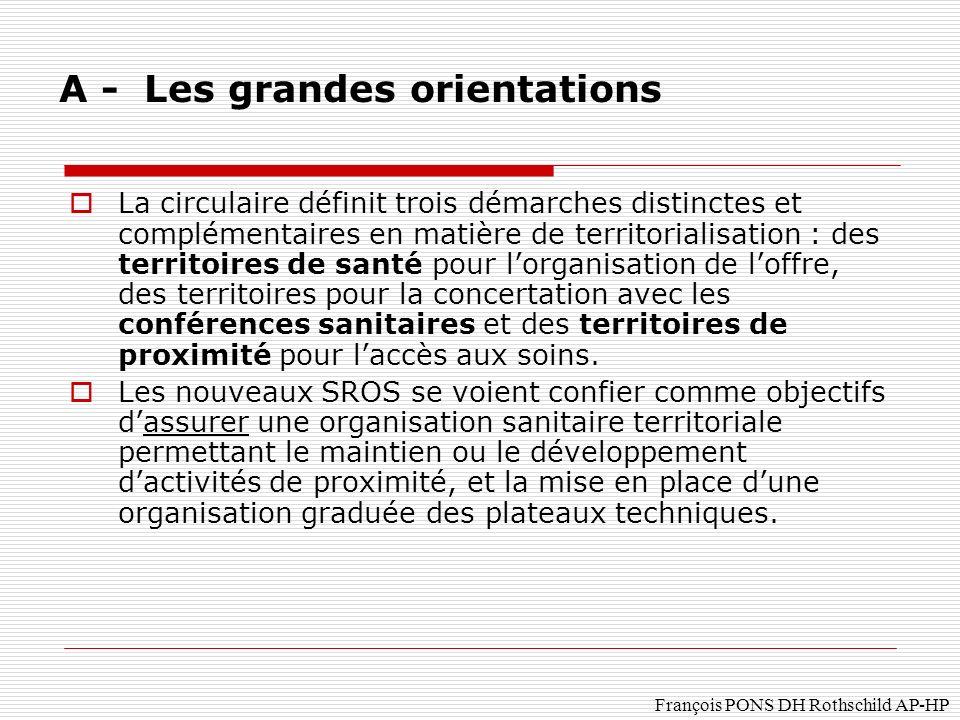 François PONS DH Rothschild AP-HP La circulaire définit trois démarches distinctes et complémentaires en matière de territorialisation : des territoires de santé pour lorganisation de loffre, des territoires pour la concertation avec les conférences sanitaires et des territoires de proximité pour laccès aux soins.
