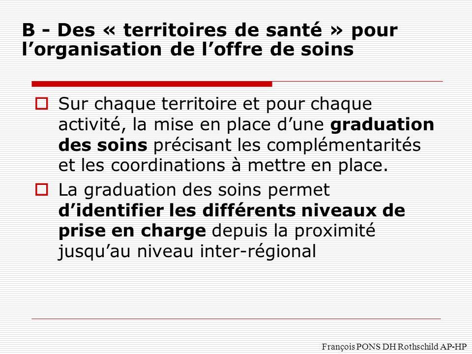 François PONS DH Rothschild AP-HP Sur chaque territoire et pour chaque activité, la mise en place dune graduation des soins précisant les complémentarités et les coordinations à mettre en place.
