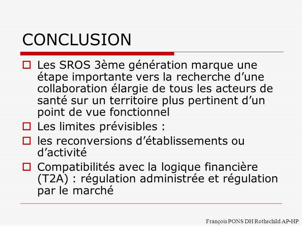 François PONS DH Rothschild AP-HP CONCLUSION Les SROS 3ème génération marque une étape importante vers la recherche dune collaboration élargie de tous les acteurs de santé sur un territoire plus pertinent dun point de vue fonctionnel Les limites prévisibles : les reconversions détablissements ou dactivité Compatibilités avec la logique financière (T2A) : régulation administrée et régulation par le marché