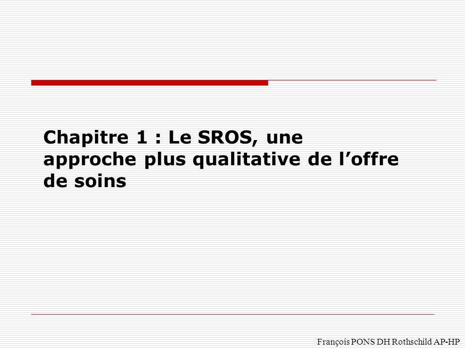 A – les caractéristiques du SROS Une réponse aux insuffisances de la Carte sanitaire: Des indices de besoins sanitaires par secteur sanitaire sont définis pour chaque type de lit et déquipements lourds, par le DARH ou le Ministre.