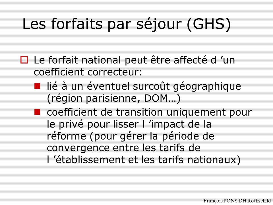 Le forfait national peut être affecté d un coefficient correcteur: lié à un éventuel surcoût géographique (région parisienne, DOM…) coefficient de tra