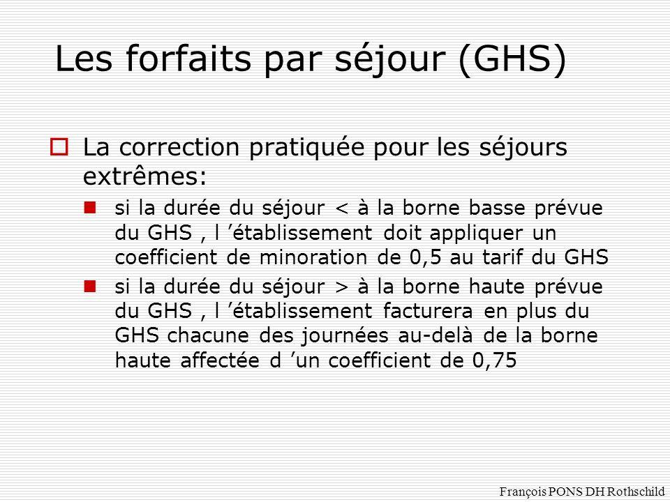 La correction pratiquée pour les séjours extrêmes: si la durée du séjour < à la borne basse prévue du GHS, l établissement doit appliquer un coefficie