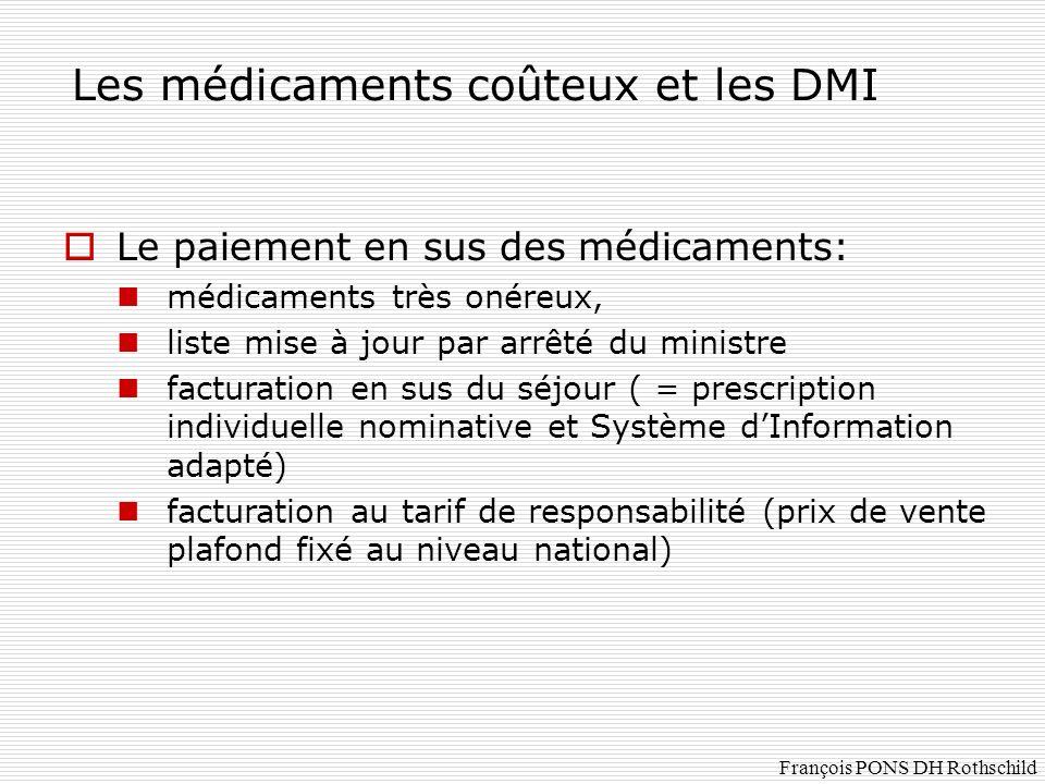 Les médicaments coûteux et les DMI Le paiement en sus des médicaments: médicaments très onéreux, liste mise à jour par arrêté du ministre facturation