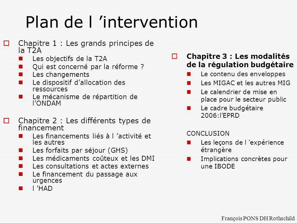 Les MIGAC L enseignement et la recherche, l innovation et le rôle de recours : concerne aujourd hui: CHU, grands CH, CRLCC, quelques cliniques demain: modulation des montants par établissement en fonction d indicateurs de l effort de recherche, importance du rôle de recours et intégration des innovations François PONS DH Rothschild