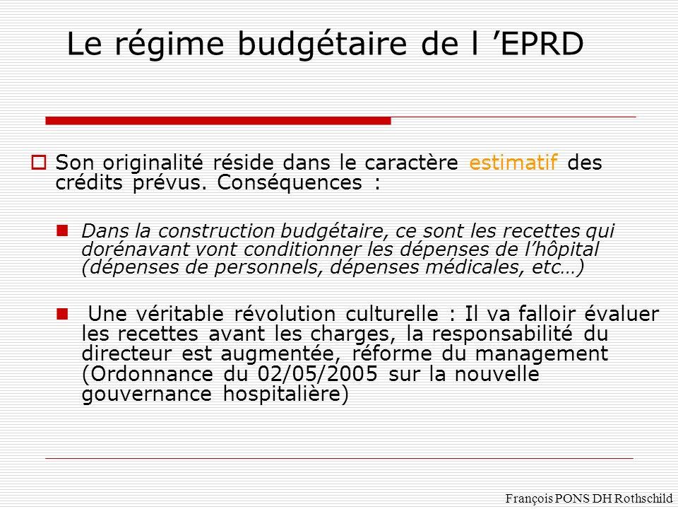 François PONS DH Rothschild Le régime budgétaire de l EPRD Son originalité réside dans le caractère estimatif des crédits prévus. Conséquences : Dans