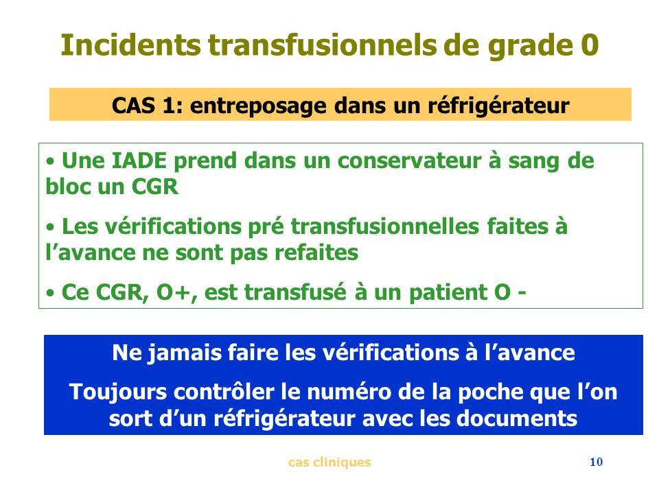 cas cliniques10 Incidents transfusionnels de grade 0 CAS 1: entreposage dans un réfrigérateur Une IADE prend dans un conservateur à sang de bloc un CG