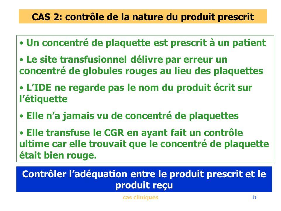 cas cliniques11 CAS 2: contrôle de la nature du produit prescrit Un concentré de plaquette est prescrit à un patient Le site transfusionnel délivre pa