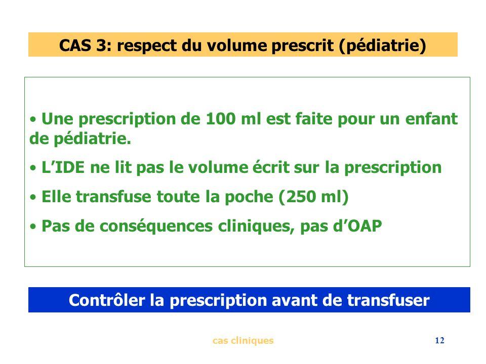 cas cliniques12 CAS 3: respect du volume prescrit (pédiatrie) Une prescription de 100 ml est faite pour un enfant de pédiatrie. LIDE ne lit pas le vol