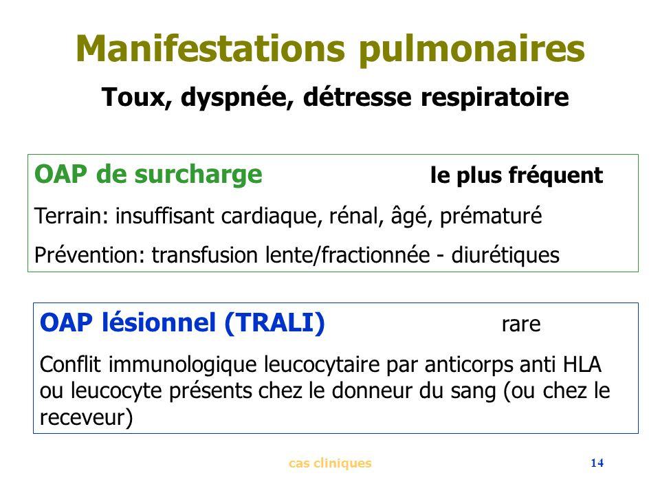 cas cliniques14 Manifestations pulmonaires Toux, dyspnée, détresse respiratoire OAP de surcharge le plus fréquent Terrain: insuffisant cardiaque, réna