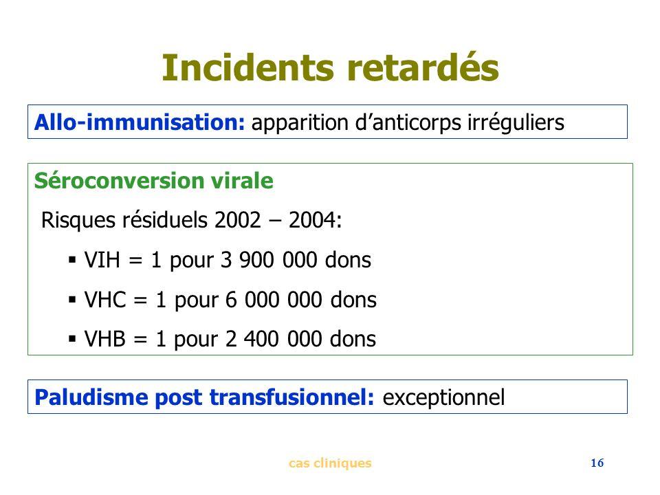 cas cliniques16 Incidents retardés Allo-immunisation: apparition danticorps irréguliers Séroconversion virale Risques résiduels 2002 – 2004: VIH = 1 p
