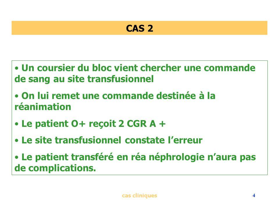 cas cliniques4 CAS 2 Un coursier du bloc vient chercher une commande de sang au site transfusionnel On lui remet une commande destinée à la réanimatio