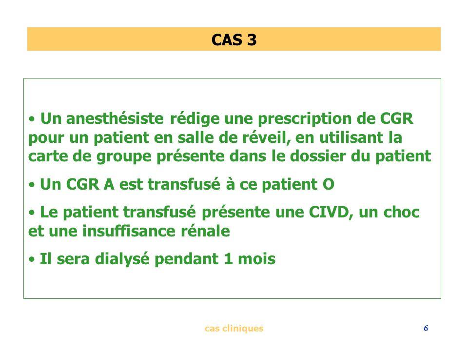 cas cliniques6 CAS 3 Un anesthésiste rédige une prescription de CGR pour un patient en salle de réveil, en utilisant la carte de groupe présente dans