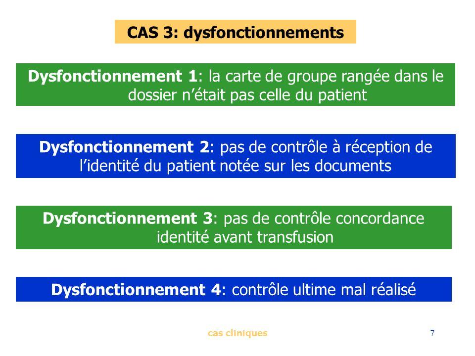 cas cliniques7 CAS 3: dysfonctionnements Dysfonctionnement 1: la carte de groupe rangée dans le dossier nétait pas celle du patient Dysfonctionnement