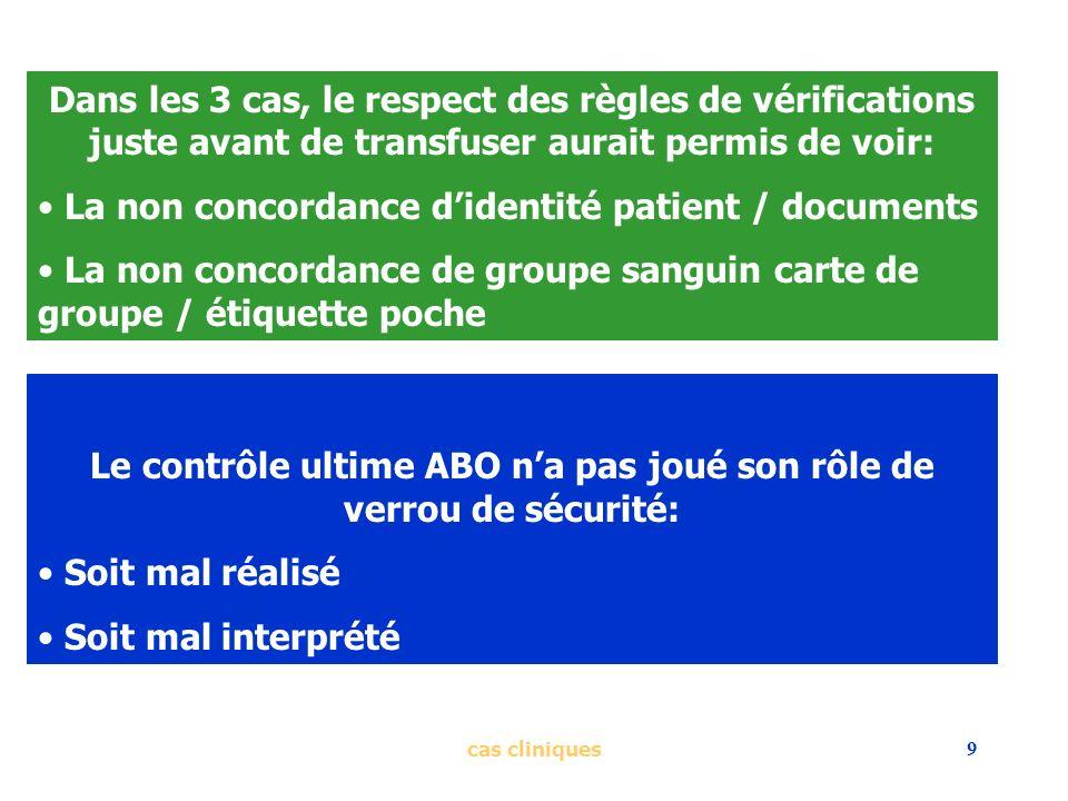 cas cliniques9 Dans les 3 cas, le respect des règles de vérifications juste avant de transfuser aurait permis de voir: La non concordance didentité pa