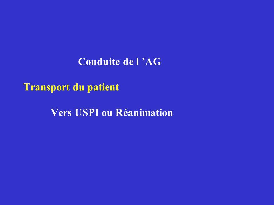 Conduite de l AG Transport du patient Vers USPI ou Réanimation