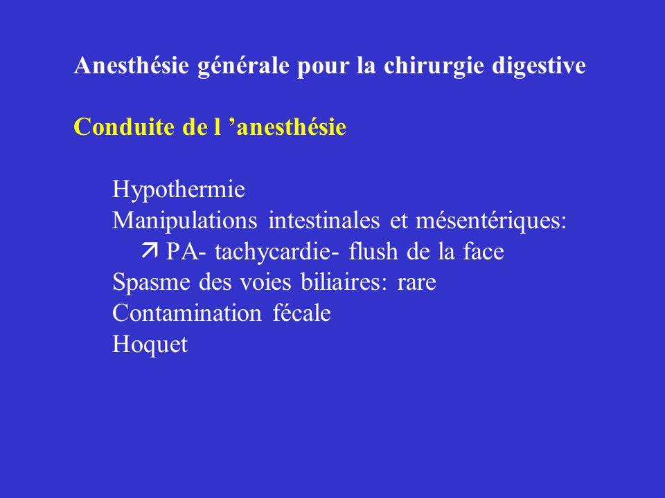 Anesthésie générale pour la chirurgie digestive Conduite de l anesthésie Hypothermie Manipulations intestinales et mésentériques: PA- tachycardie- flu