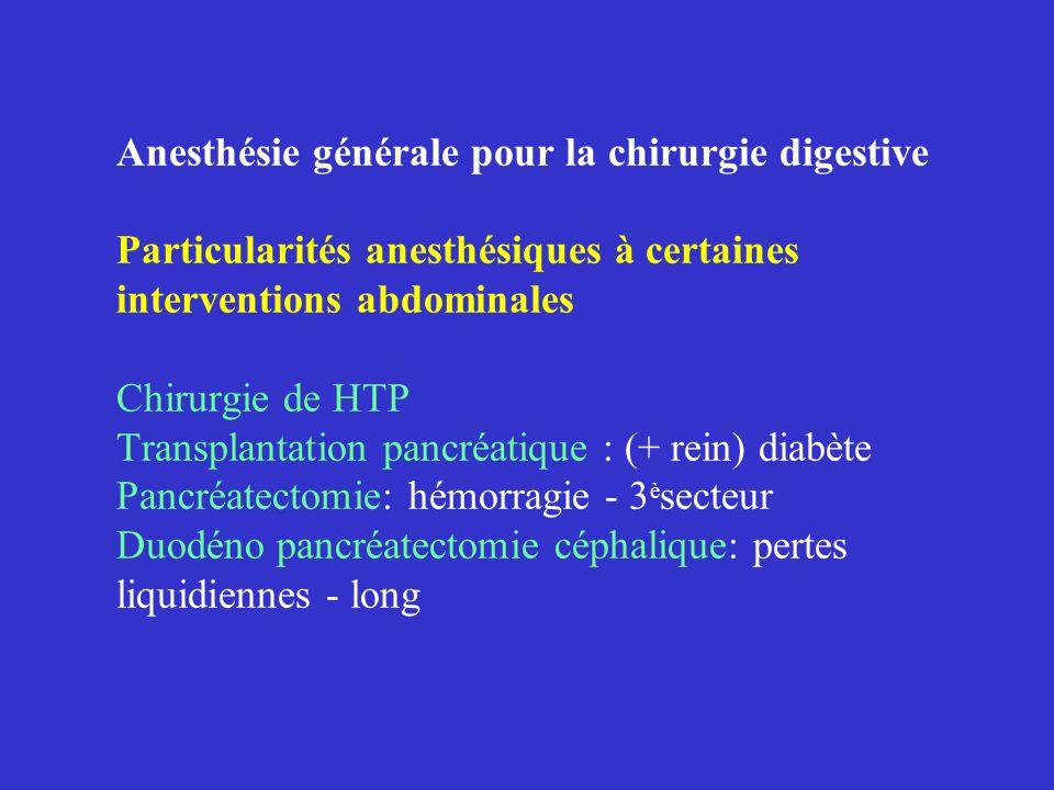 Anesthésie générale pour la chirurgie digestive Particularités anesthésiques à certaines interventions abdominales Chirurgie de HTP Transplantation pa