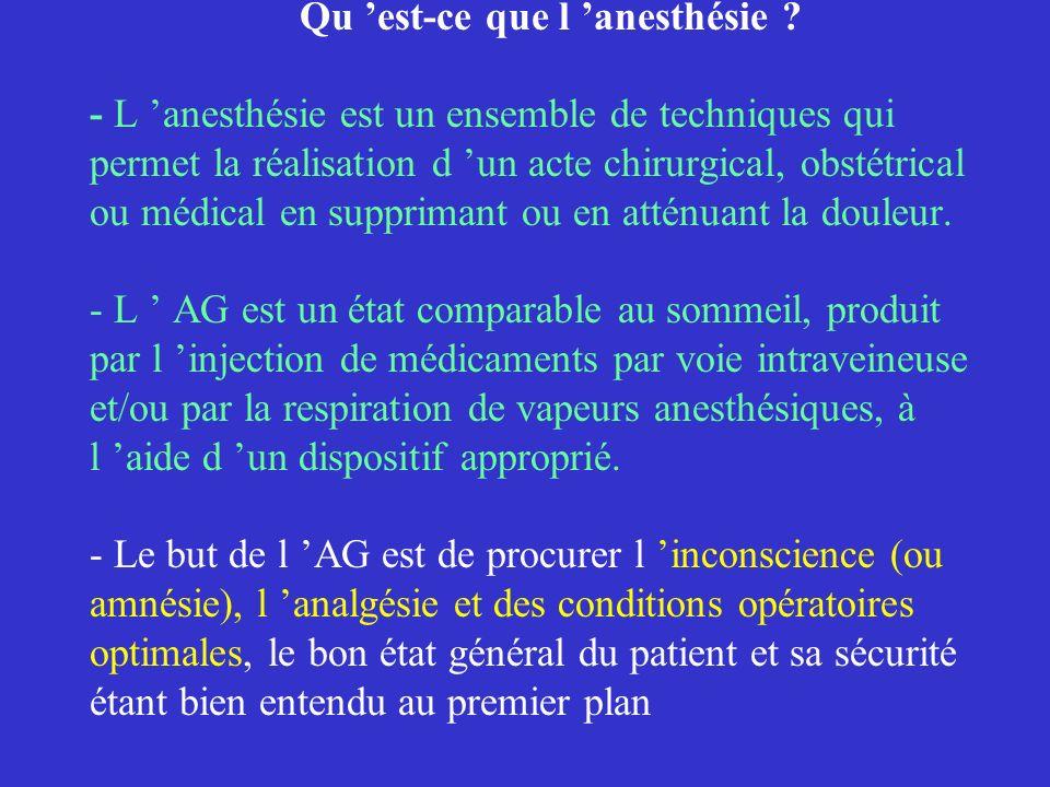 Qu est-ce que l anesthésie ? - L anesthésie est un ensemble de techniques qui permet la réalisation d un acte chirurgical, obstétrical ou médical en s