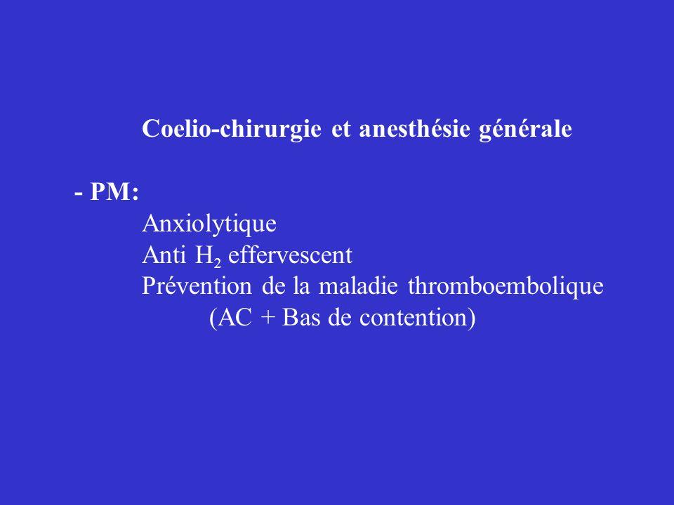 Coelio-chirurgie et anesthésie générale - PM: Anxiolytique Anti H 2 effervescent Prévention de la maladie thromboembolique (AC + Bas de contention)