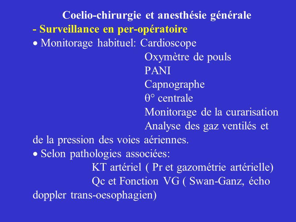 Coelio-chirurgie et anesthésie générale - Surveillance en per-opératoire Monitorage habituel: Cardioscope Oxymètre de pouls PANI Capnographe ° central