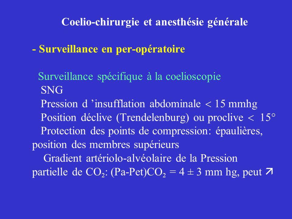 Coelio-chirurgie et anesthésie générale - Surveillance en per-opératoire Surveillance spécifique à la coelioscopie SNG Pression d insufflation abdomin