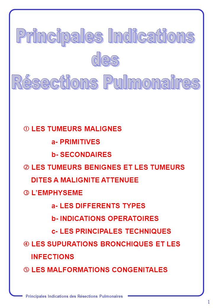 Principales Indications des Résections Pulmonaires 1 LES TUMEURS MALIGNES a- PRIMITIVES b- SECONDAIRES LES TUMEURS BENIGNES ET LES TUMEURS DITES A MAL