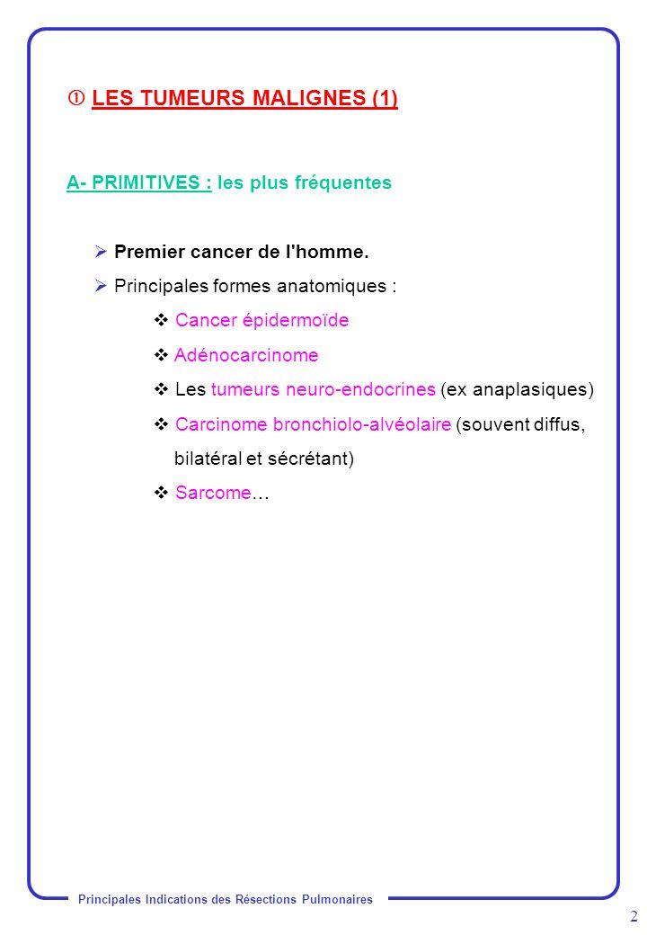 Principales Indications des Résections Pulmonaires 2 A- PRIMITIVES : les plus fréquentes Premier cancer de l'homme. Principales formes anatomiques : C