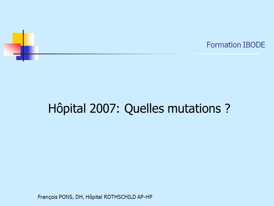 François PONS, DH, Hôpital ROTHSCHILD AP-HP Formation IBODE Hôpital 2007: Quelles mutations ?