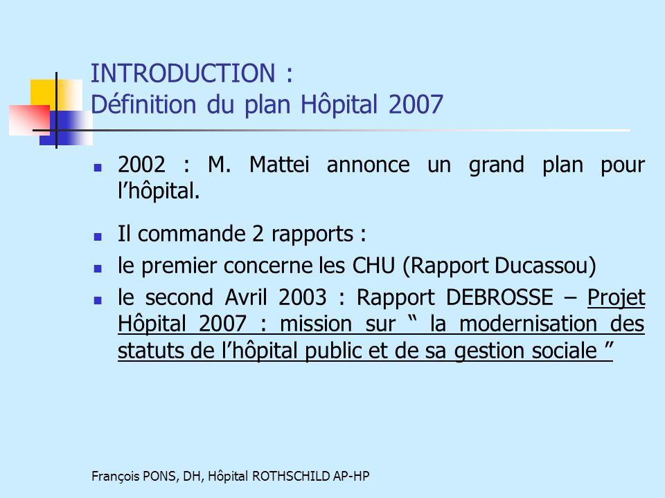 François PONS, DH, Hôpital ROTHSCHILD AP-HP INTRODUCTION : Définition du plan Hôpital 2007 2002 : M.