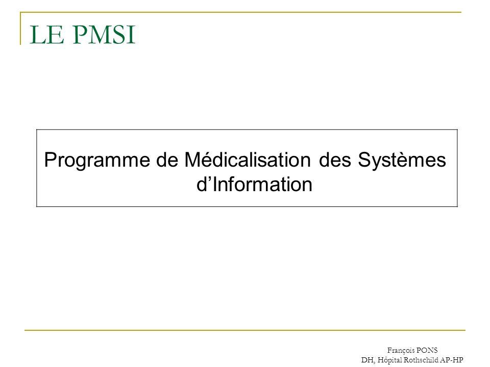 François PONS DH, Hôpital Rothschild AP-HP LE PMSI Programme de Médicalisation des Systèmes dInformation