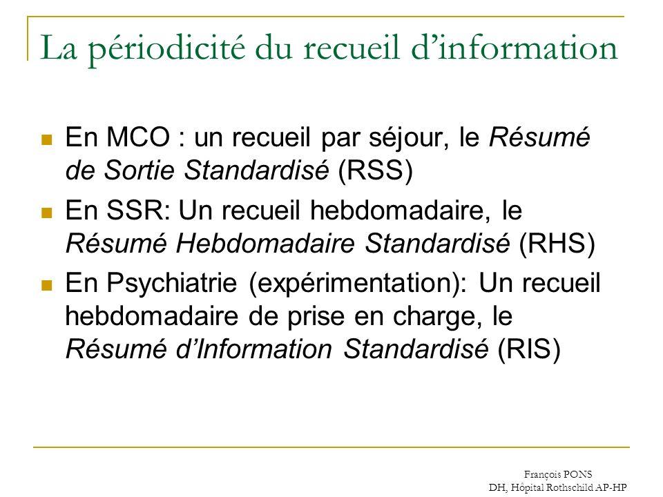 François PONS DH, Hôpital Rothschild AP-HP La périodicité du recueil dinformation En MCO : un recueil par séjour, le Résumé de Sortie Standardisé (RSS