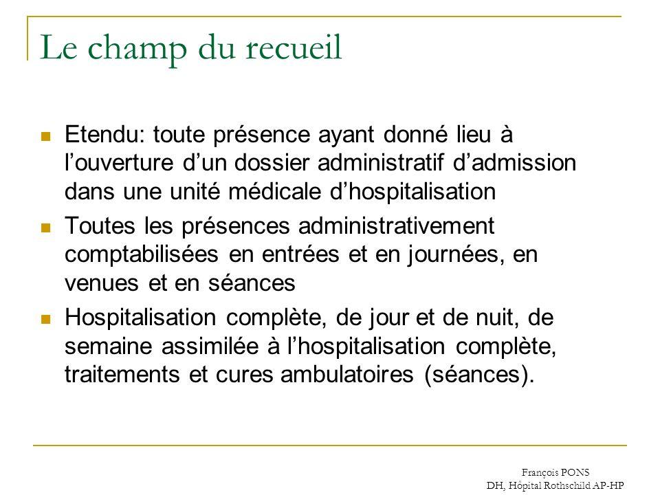 François PONS DH, Hôpital Rothschild AP-HP Le champ du recueil Etendu: toute présence ayant donné lieu à louverture dun dossier administratif dadmissi