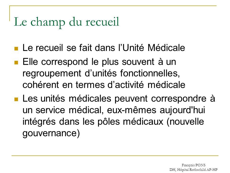 François PONS DH, Hôpital Rothschild AP-HP Le champ du recueil Le recueil se fait dans lUnité Médicale Elle correspond le plus souvent à un regroupeme