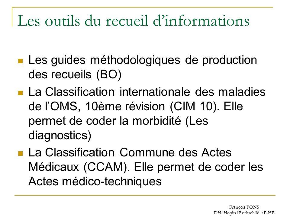 François PONS DH, Hôpital Rothschild AP-HP Les outils du recueil dinformations Les guides méthodologiques de production des recueils (BO) La Classific