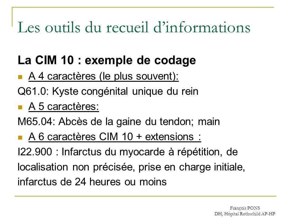 François PONS DH, Hôpital Rothschild AP-HP Les outils du recueil dinformations La CIM 10 : exemple de codage A 4 caractères (le plus souvent): Q61.0: