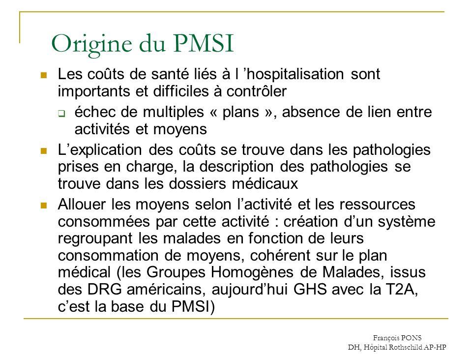 François PONS DH, Hôpital Rothschild AP-HP Origine du PMSI Les coûts de santé liés à l hospitalisation sont importants et difficiles à contrôler échec