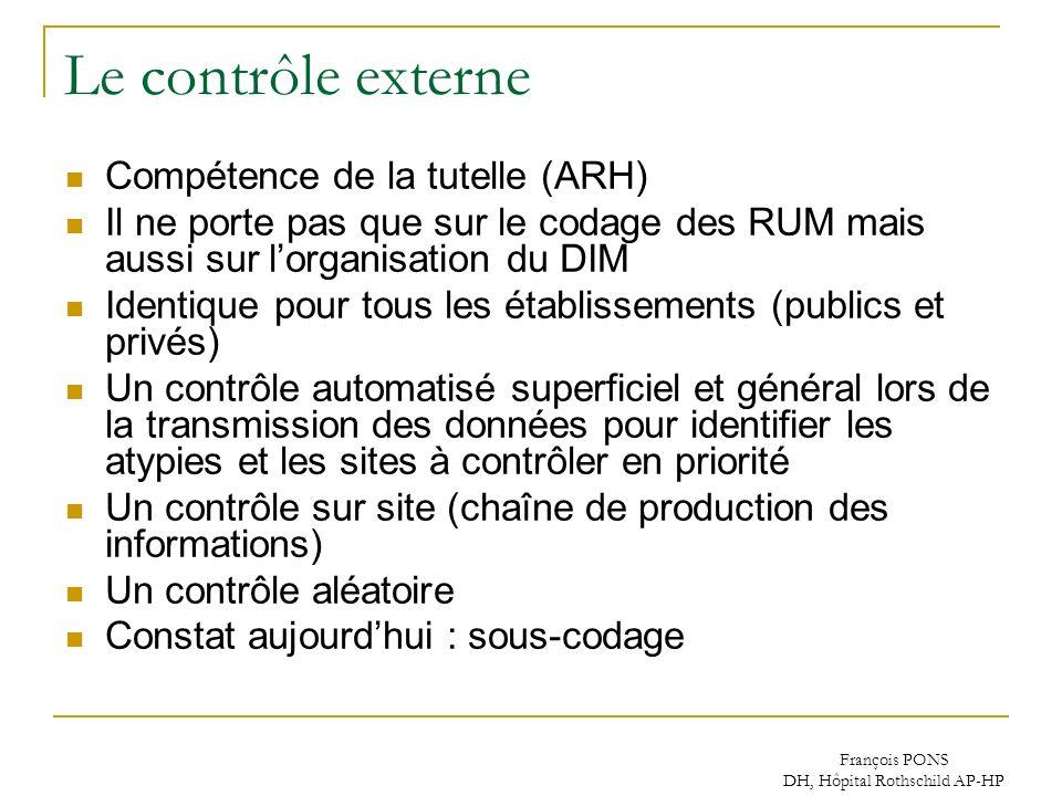François PONS DH, Hôpital Rothschild AP-HP Le contrôle externe Compétence de la tutelle (ARH) Il ne porte pas que sur le codage des RUM mais aussi sur