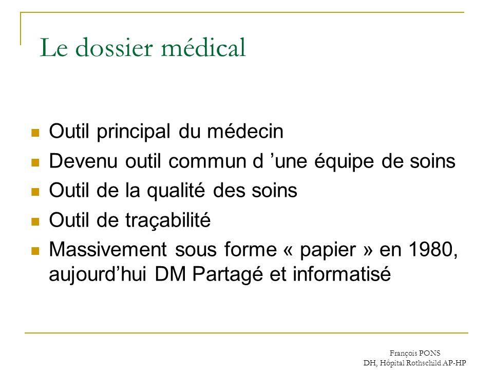 François PONS DH, Hôpital Rothschild AP-HP Le dossier médical Outil principal du médecin Devenu outil commun d une équipe de soins Outil de la qualité