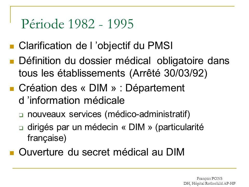 François PONS DH, Hôpital Rothschild AP-HP Période 1982 - 1995 Clarification de l objectif du PMSI Définition du dossier médical obligatoire dans tous
