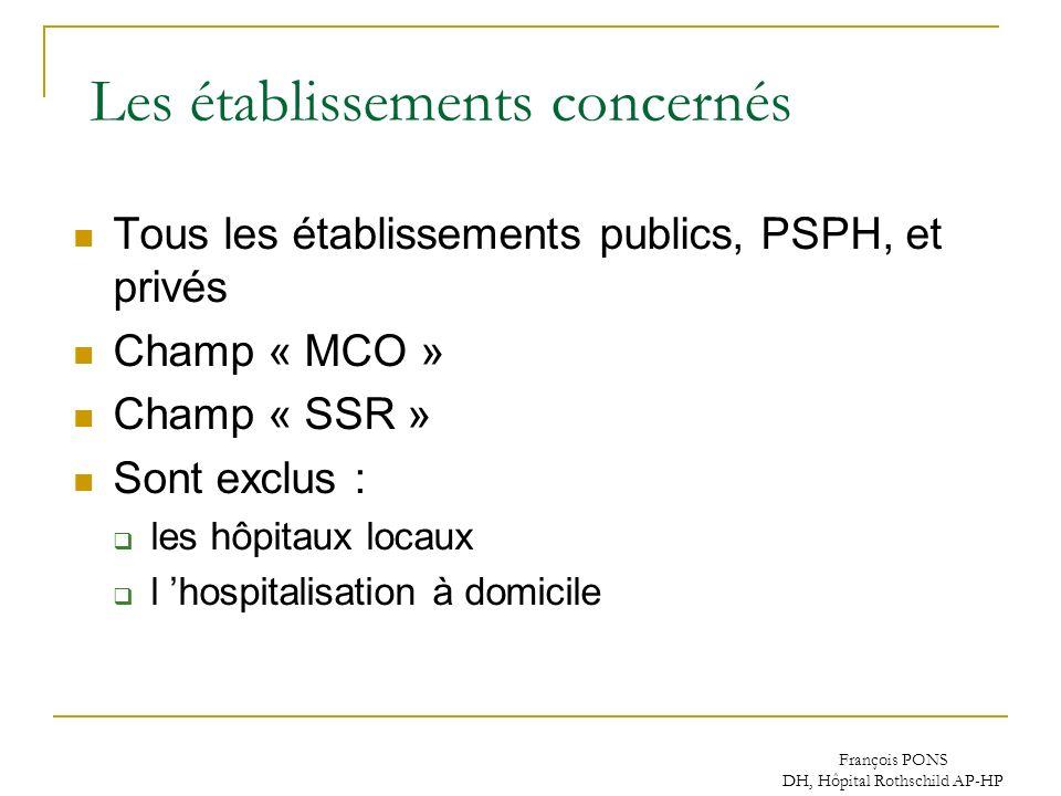 François PONS DH, Hôpital Rothschild AP-HP Les établissements concernés Tous les établissements publics, PSPH, et privés Champ « MCO » Champ « SSR » S