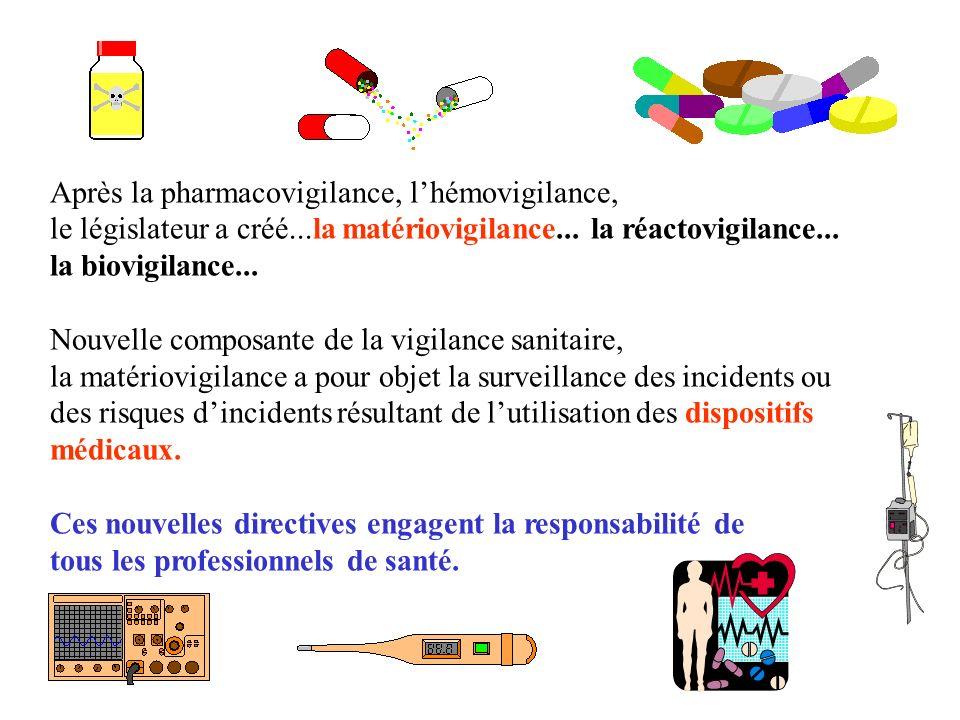 Après la pharmacovigilance, lhémovigilance, le législateur a créé...la matériovigilance...