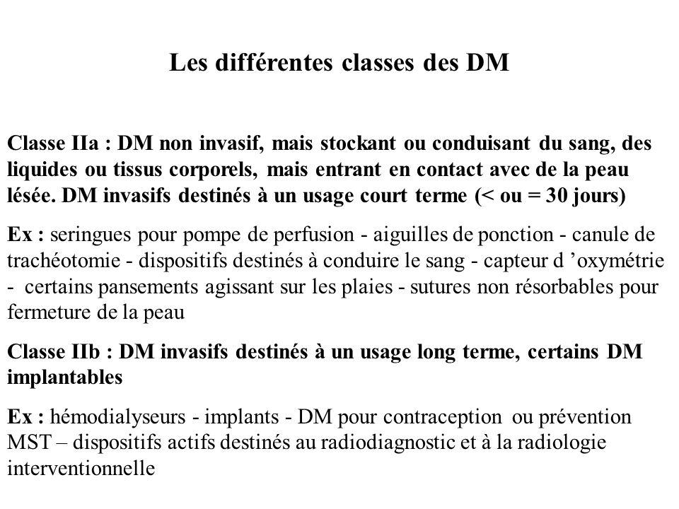 Les différentes classes des DM Classe I : DM non invasif, stérile ou non, ne touchant pas le patient ou seulement la peau saine. DM invasifs destinés