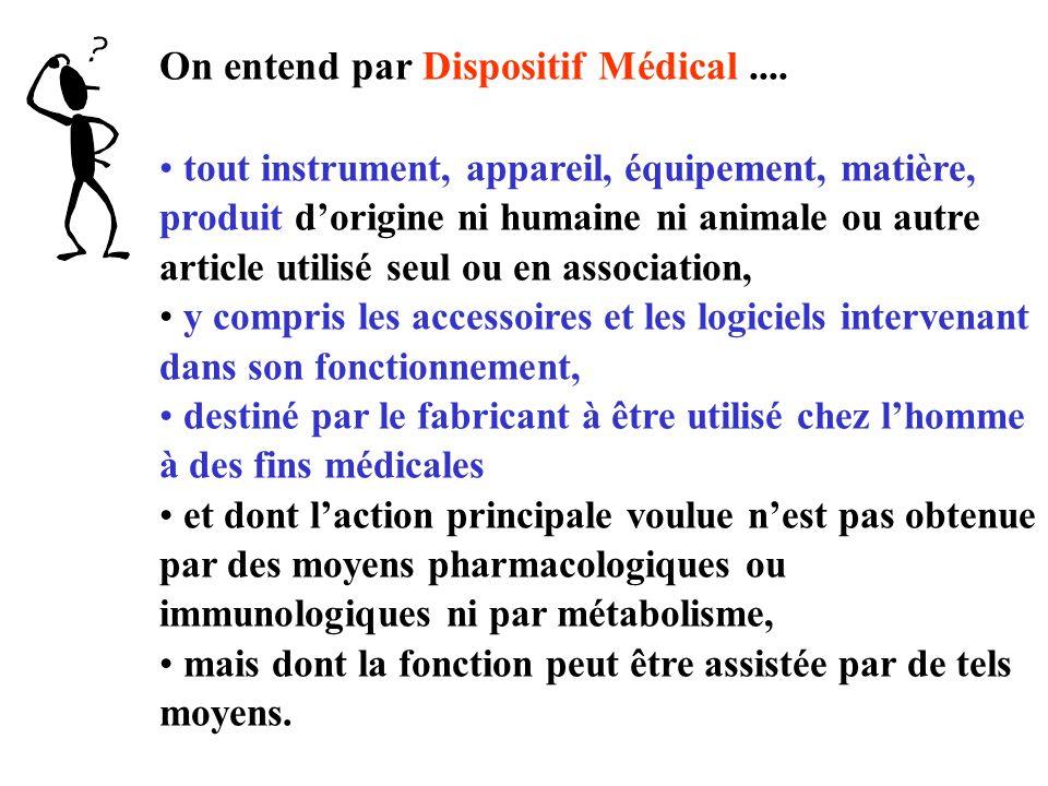 Les différentes classes des DM Classe I : DM non invasif, stérile ou non, ne touchant pas le patient ou seulement la peau saine.