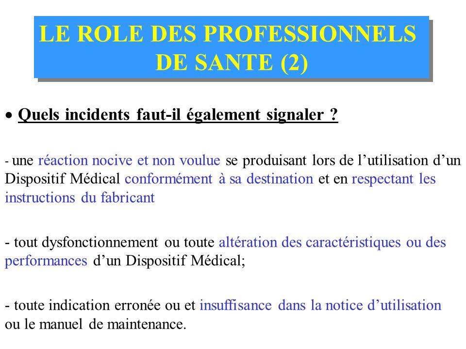 LE ROLE DES PROFESSIONNELS DE SANTE (1) LE ROLE DES PROFESSIONNELS DE SANTE (1) Que déclarer obligatoirement et sans délai ? Doit être déclaré tout in