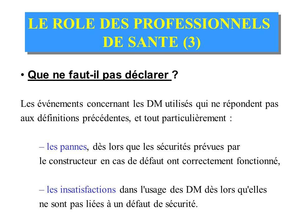 LE ROLE DES PROFESSIONNELS DE SANTE (2) LE ROLE DES PROFESSIONNELS DE SANTE (2) Quels incidents faut-il également signaler ? - une réaction nocive et