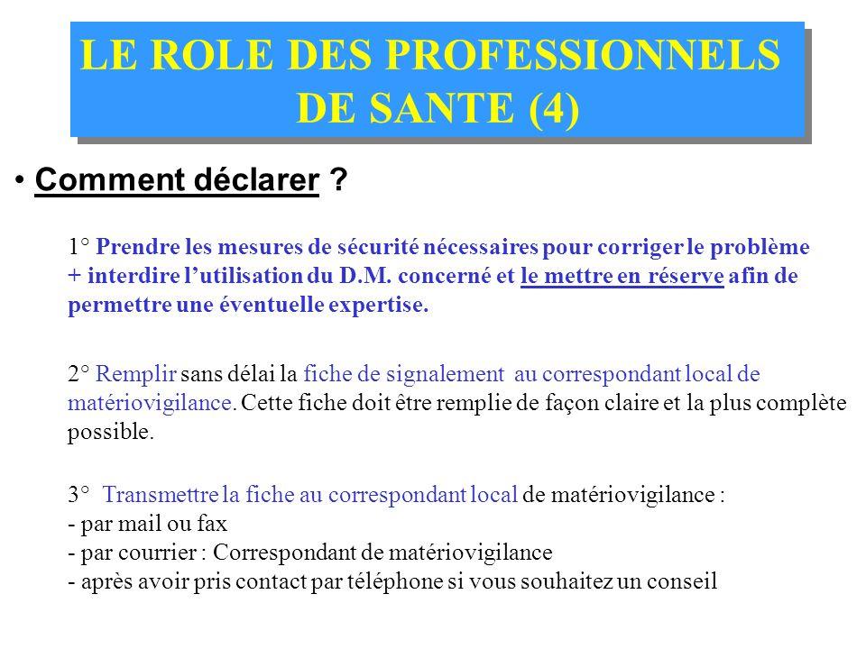 LE ROLE DES PROFESSIONNELS DE SANTE (3) LE ROLE DES PROFESSIONNELS DE SANTE (3) Que ne faut-il pas déclarer ? Les événements concernant les DM utilisé
