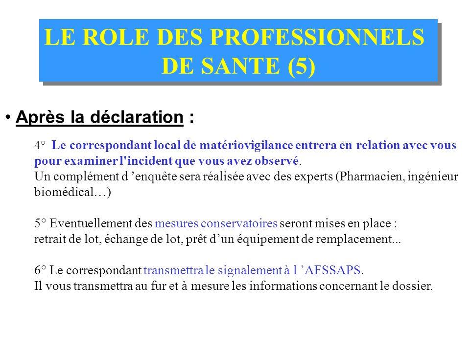LE ROLE DES PROFESSIONNELS DE SANTE (4) LE ROLE DES PROFESSIONNELS DE SANTE (4) Comment déclarer ? 1° Prendre les mesures de sécurité nécessaires pour
