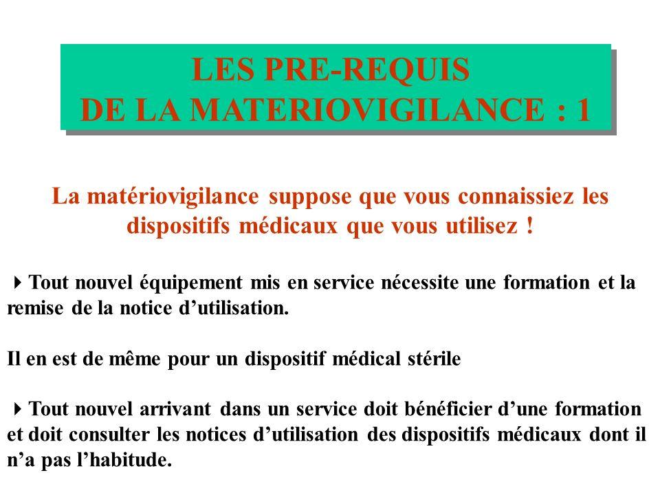 LES PRE-REQUIS DE LA MATERIOVIGILANCE LES PRE-REQUIS DE LA MATERIOVIGILANCE Les utilisateurs doivent connaître les dispositifs médicaux quils utilisen